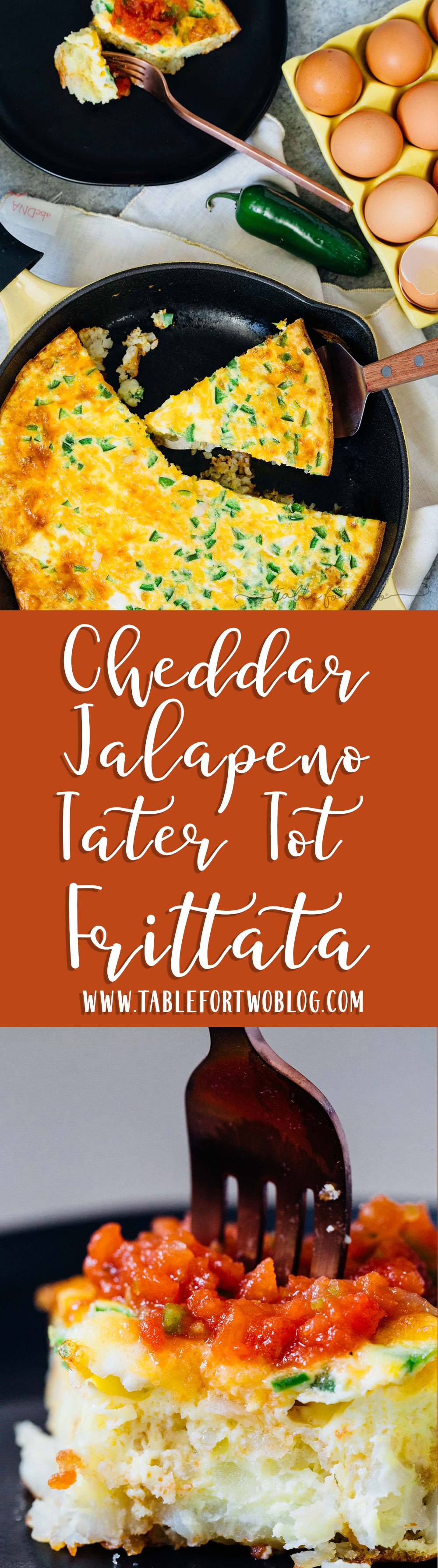 This cheddar jalapeno tater tot frittata has everything you want in one dish! Your entire breakfast is cooked in one skillet and the tater tot crust is crispy and THE BEST PART of this frittata!