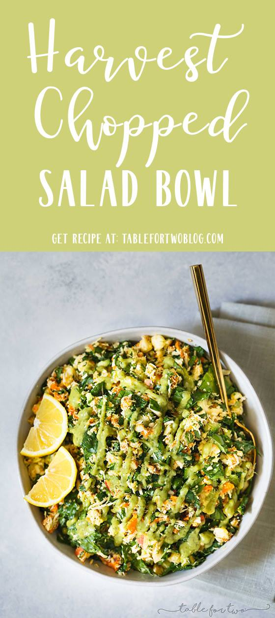 A hearty and filling harvest chopped salad bowl for any day of the week! the perfect lunch idea and a great, clean, meal! #salad #choppedsalad #saladrecipe