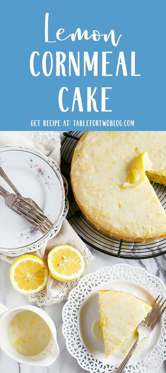 This lemon cornmeal cake is the ultimate way to ring in spring! It's so light and cornmeal gives this cake a subtle but distinct texture! You will love the glaze on top too. If you love all things lemon, this cake has your name on it! #lemoncake #lemon #cornmeal #cake #lemondessert #cornmealcake