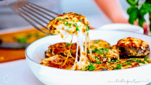 Our all-time FAVORITE way to make eggplant parm! You will want to make it this way forever! #eggplantparm #eggplantparmesan #eggplantrecipe #vegetarian #recipe #italian