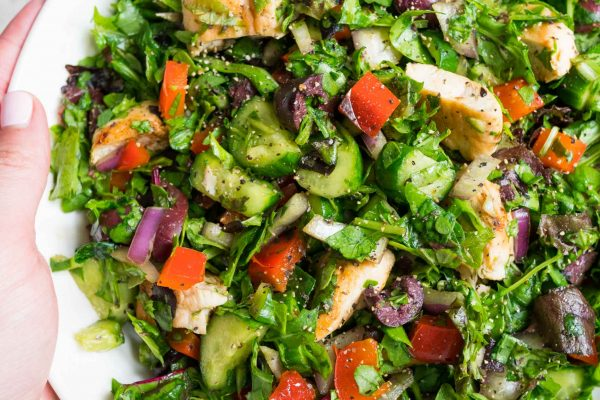 A quick basic chopped salad that is a starting base for whatever salad creations you may think of! #salad #choppedsalad #quicksalad #easysalad #saladrecipe