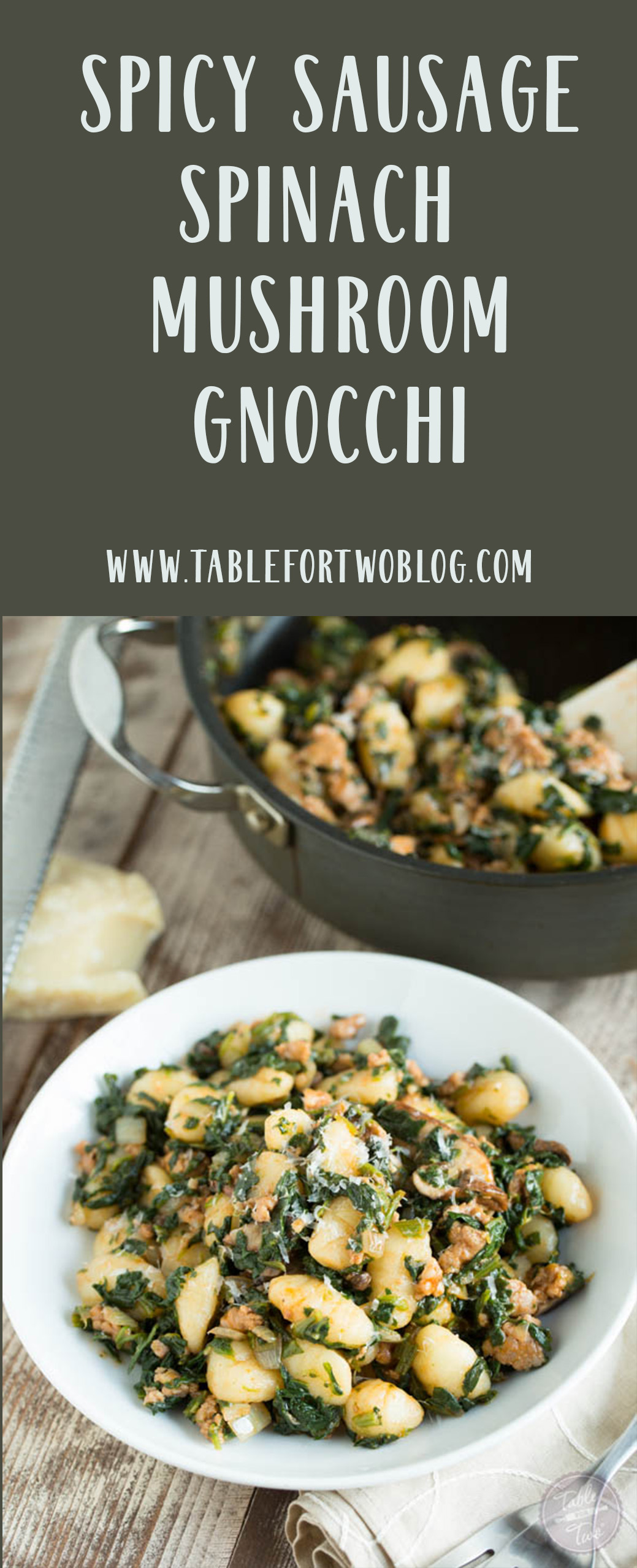 This 15-minute spicy sausage, spinach, and mushroom gnocchi is SO flavorful and incredibly easy to whip up that you'll want it on your dinner table multiple times a week! #gnocchi #easydinner #dinneridea #dinnerrecipe #pastarecipe #spicysausage