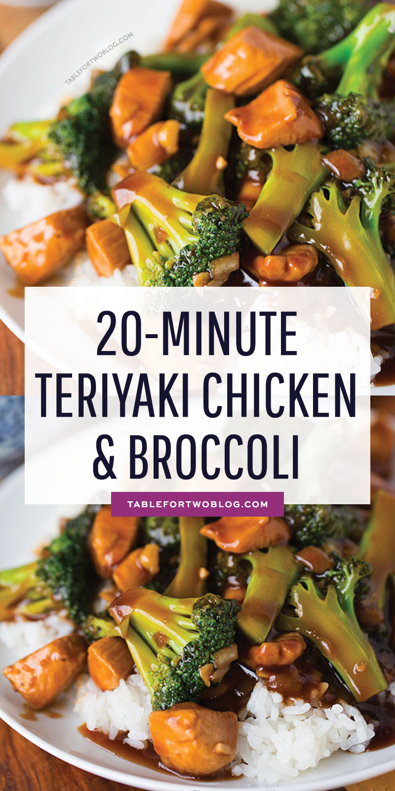 This easy 20-minute teriyaki chicken and broccoli will soon be a favorite in your house! Recipe on tablefortwoblog.com #teriyakichicken #quickdinner #easymeal #chickenandbroccoli #chickendinner #chickenrecipe #dinnerrecipe