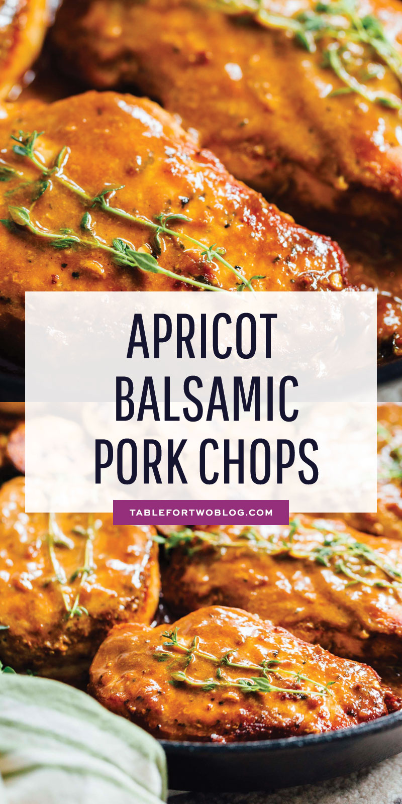 Apricot balsamic pork chops are going to be in your weeknight dinner rotation after your first bite of this sweet and tangy dish! #apricotbalsamic #apricot #porkchops #quickdinner #easydinner #skilletdinner
