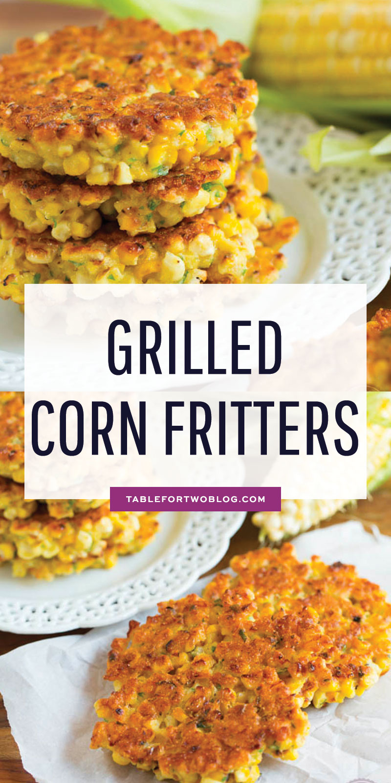 Grilled corn fritters are a great way to use your grilled corn! These little cakes are so easy to put together! Click for recipe. #corn #cornrecipes #cornfritters #fritters #corncake