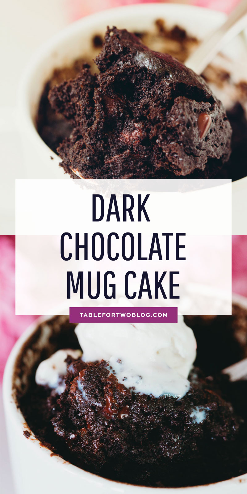 This dark chocolate mug cake is, well, a dark chocolate version of my famous chocolate mug cake that everyone loves. You gotta have options when the craving hits! #darkchocolate #cakeinamug #mugcake #chocolatemugcake #dessertforone #singleserving