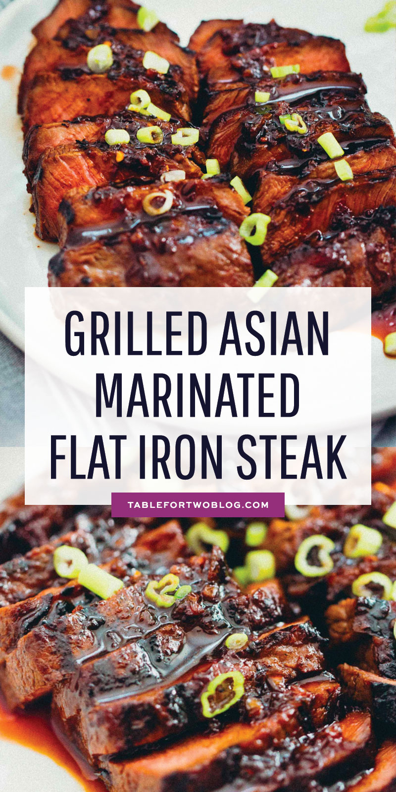 This grilled Asian marinated flat iron steak is a quick weeknight meal when you're looking to change up traditional grilled steak! #grilling #steak #flatironsteak #asianmarinade
