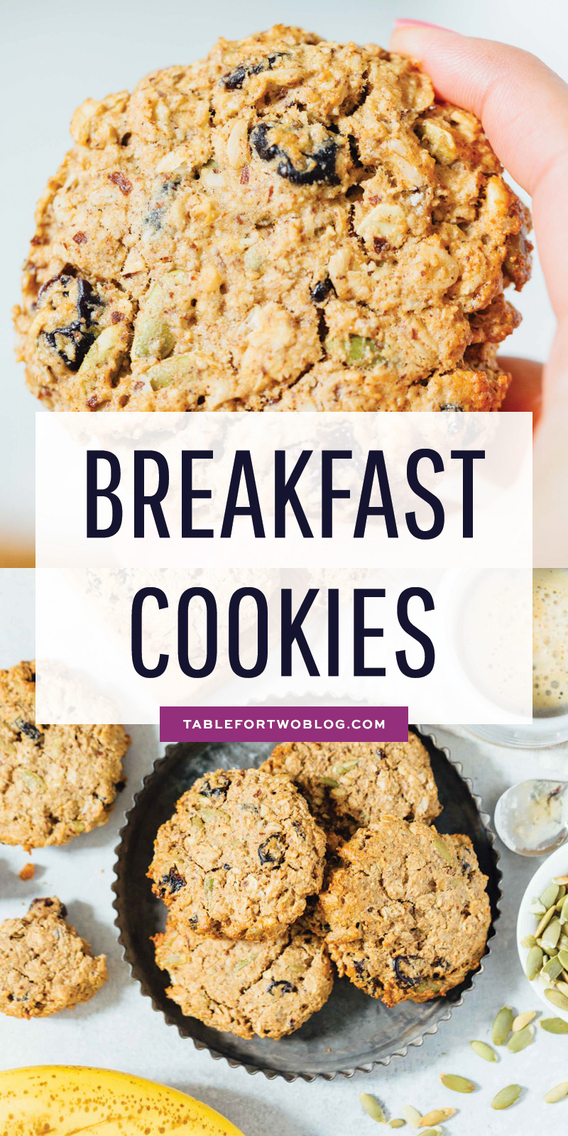 Naturally sweetened, vegan, and gluten-free. These breakfast cookies are a great on-the-go bite and good for any time of day! #cookies #breakfastcookies #glutenfreebaking #dairyfree #veganbaking #vegan #glutenfree #naturallysweetened