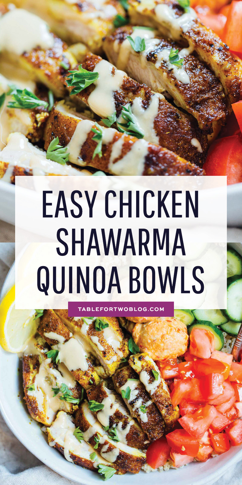 These easy chicken shawarma quinoa bowls are a meal prepping lover's dream. They're so customizable and easy to put together and have for the week! #ad #svorganic #svo #farmerfocus #chickenrecipe #chickenshawarma #chickendinner
