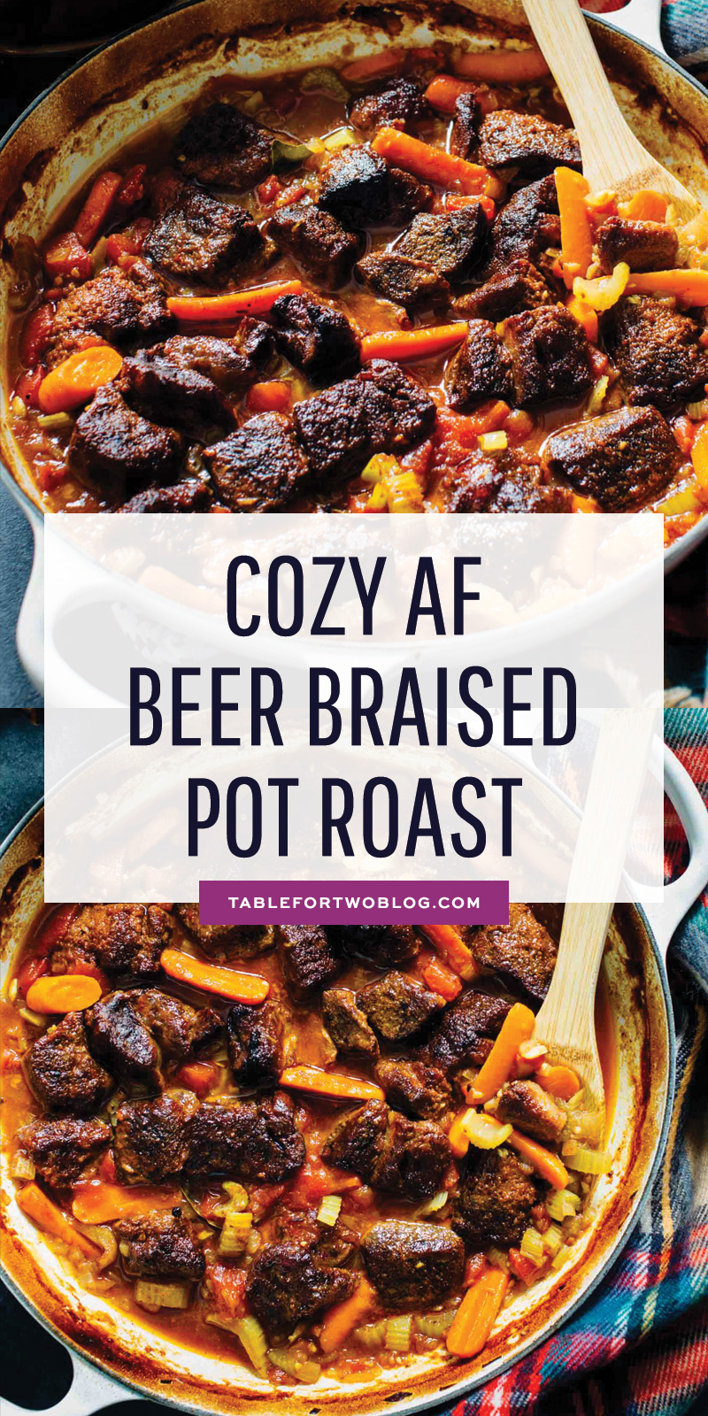 An incredibly comforting and rich beer braised pot roast. It is cozy AF and you'll literally want bowls of it in the chilly months! #beerbraised #potroast #slowcooking #lowandslow #beef #roastrecipe