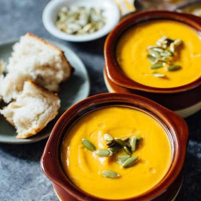 A creamy seasonal soup that you can have year-round. This Instant Pot autumn harvest butternut squash soup is a copycat from Panera that you know and love! #butternutsquash #soup #recipes #souprecipes #panera #paneracopycat #squashrecipes #falleats