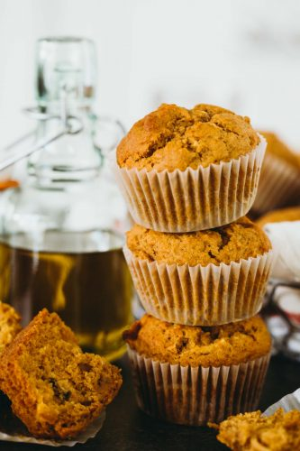 Soft and tender pumpkin apple olive oil muffins are the perfect muffins to make for Fall! The robust olive oil with the fresh apples make for a delicious flavor combination! #pumpkinrecipes #applerecipes #pumpkinapple #pumpkin #muffinrecipe #fallflavor