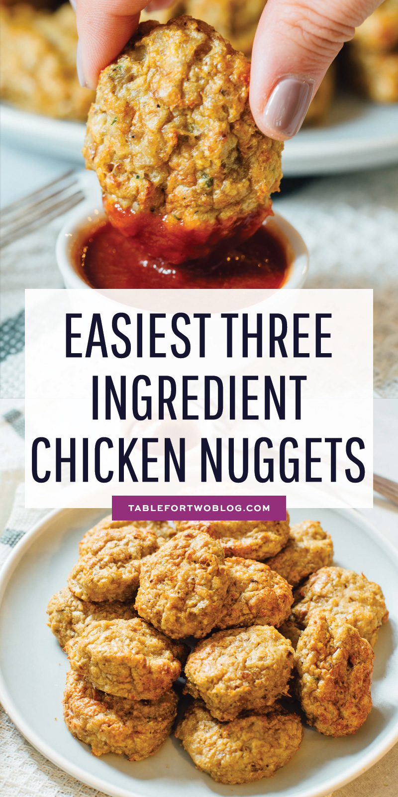 Three ingredients is all you'll need for the easiest three ingredient chicken nugget recipe EVER!! They are awesome for #mealprepping and they make quick weeknight dinners so easy and no stress! #chickenrecipes #chickenugget #mealprep #easymeal #mealpreppingrecipe #makeaheadmeal