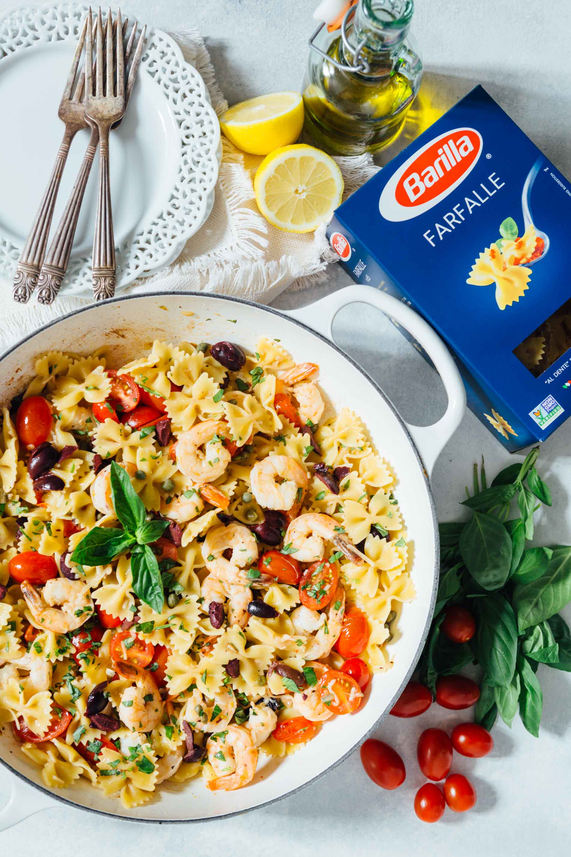 #AD Using @BarillaUS farfalle pasta to make this light and refreshing pasta dish! It is tossed with olive oil, lemon juice, and shrimp for a fresh and clean tasting Mediterranean dish packed with loads of flavor! #PastaWorldChampionship #PassionforPasta #?