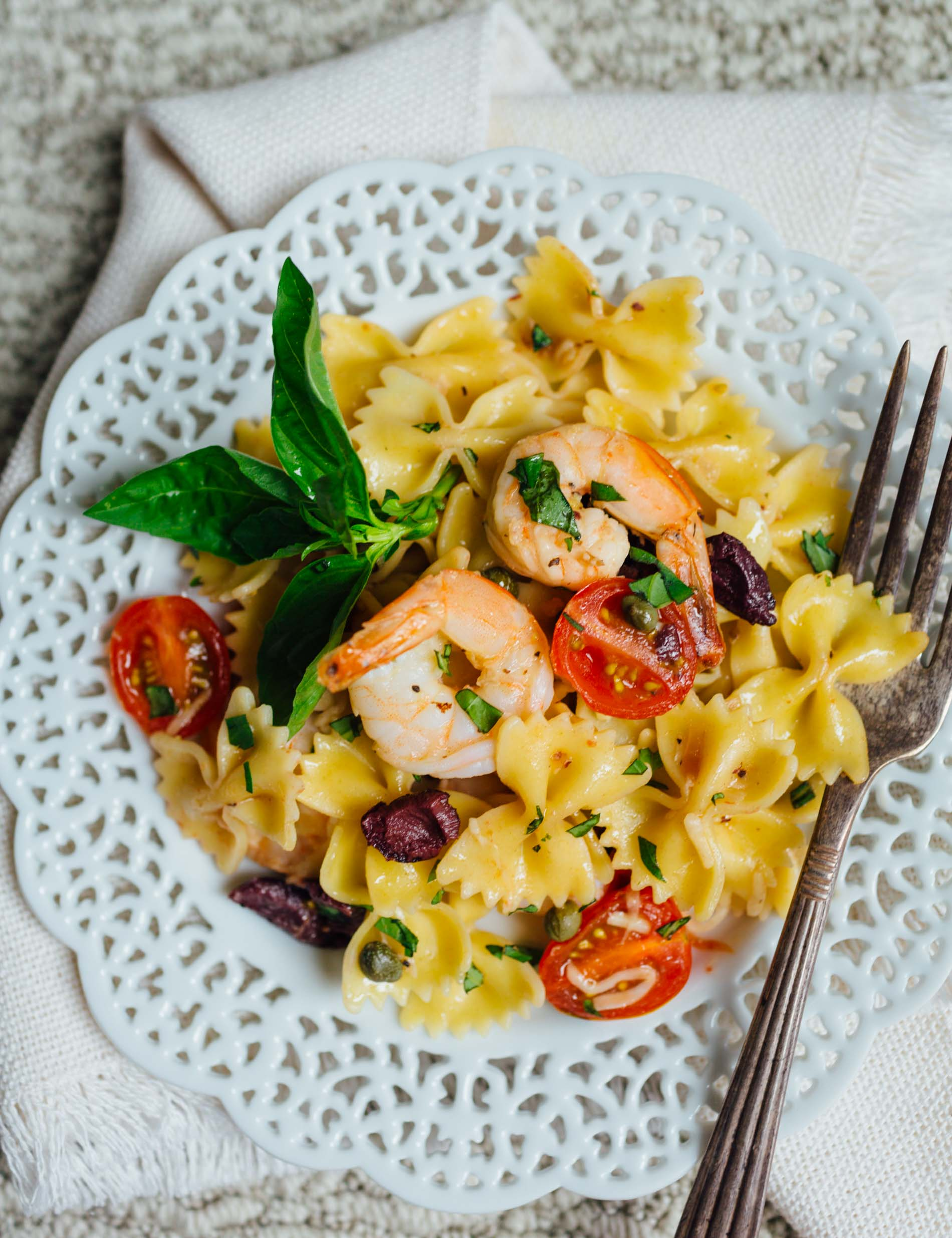 make this light and refreshing pasta dish! It is tossed with olive oil, lemon juice, and shrimp for a fresh and clean tasting Mediterranean dish packed with loads of flavor!