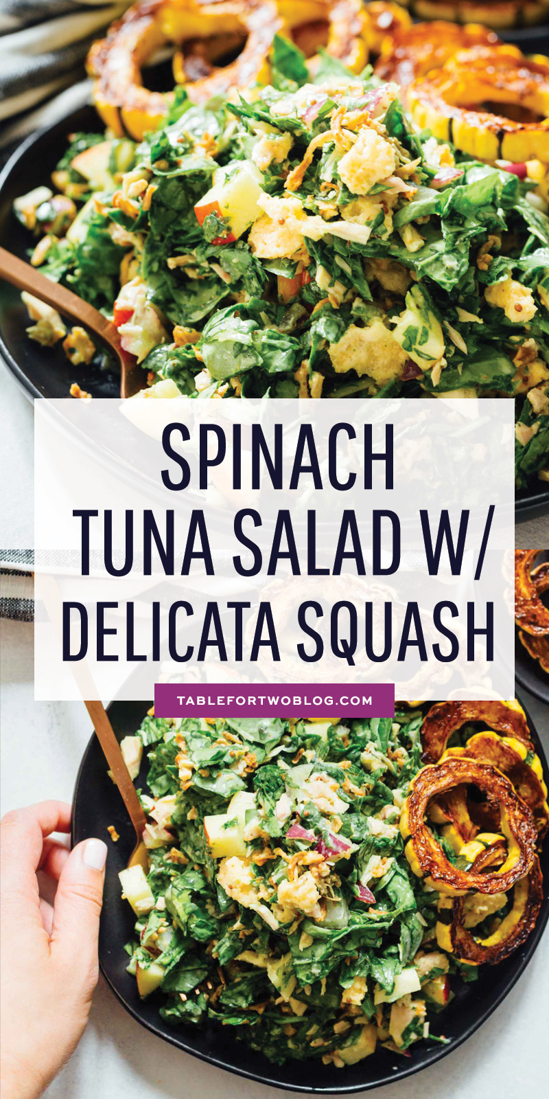 A spinach tuna salad topped with roasted delicata squash is a heavenly combination! The delicata squash gives it a unique yet distinct sweetness but it also adds volume to make this salad hearty and filling! #salad #saladrecipe #healthyeats #healthysalad #saladbowl #delicatasquash #tunasalad #tunarecipe