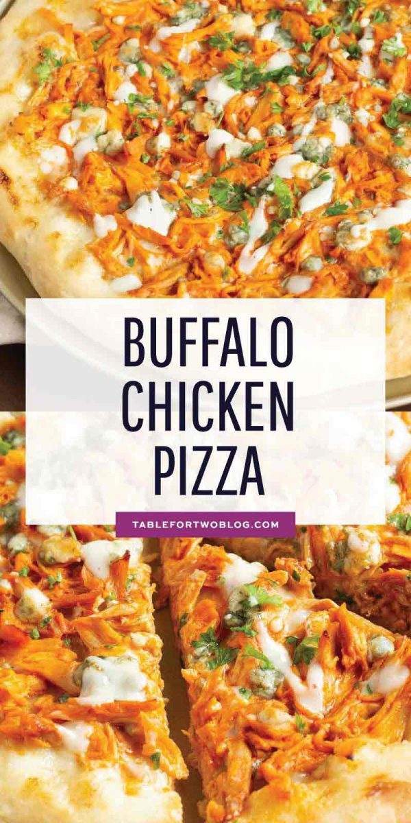 If you love buffalo chicken wings, then you will love this buffalo chicken pizza! The perfect alternative to have during game day if you don't want a bunch of messy hands around! #buffalochicken #pizza #buffalosauce #pizzarecipe