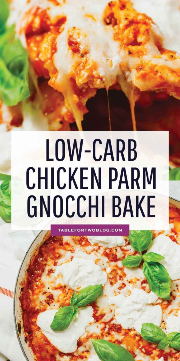 A delicious take on the classic chicken parmesan but in a low-carb gnocchi bake! This is a great way to use the popular cauliflower gnocchi and an easy dinner idea! #cauliflower #cauliflowergnocchi #gnocchibake #chickenparm