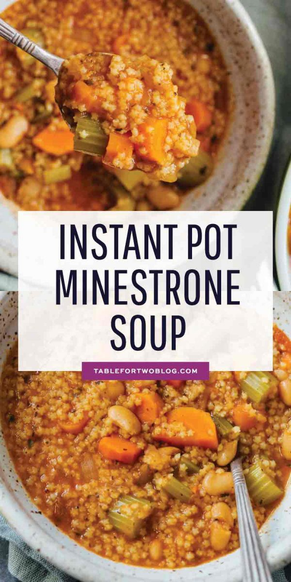 Stay cozy and warm with this Instant Pot minestrone soup that comes together in less than 45 minutes! You will absolutely love how flavorful and easy this comes together! #soup #minestrone #minestronesoup #instantpot #instantpotrecipes #pressurecooker