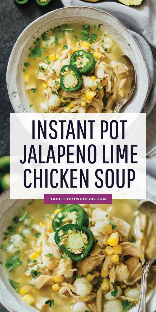 This Instant Pot jalapeño lime chicken soup is beyond flavorful! The spicy broth has hearty additions of hominy, corn, and shredded chicken. Put this all together in less than an hour! #instantpot #instantpotrecipes #pressurecooker #pressurecookerrecipes #eatthis #makethisnow #soup #souprecipes #chickenrecipes