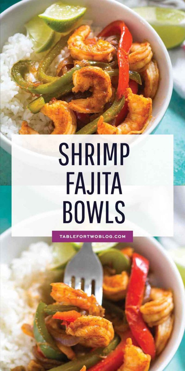 Shrimp fajita bowls are a quick dinner option for those busy night. Super flavorful and comes together in less than 20 minutes! #shrimpfajita #fajitas #shrimp #shrimprecipes #mexican