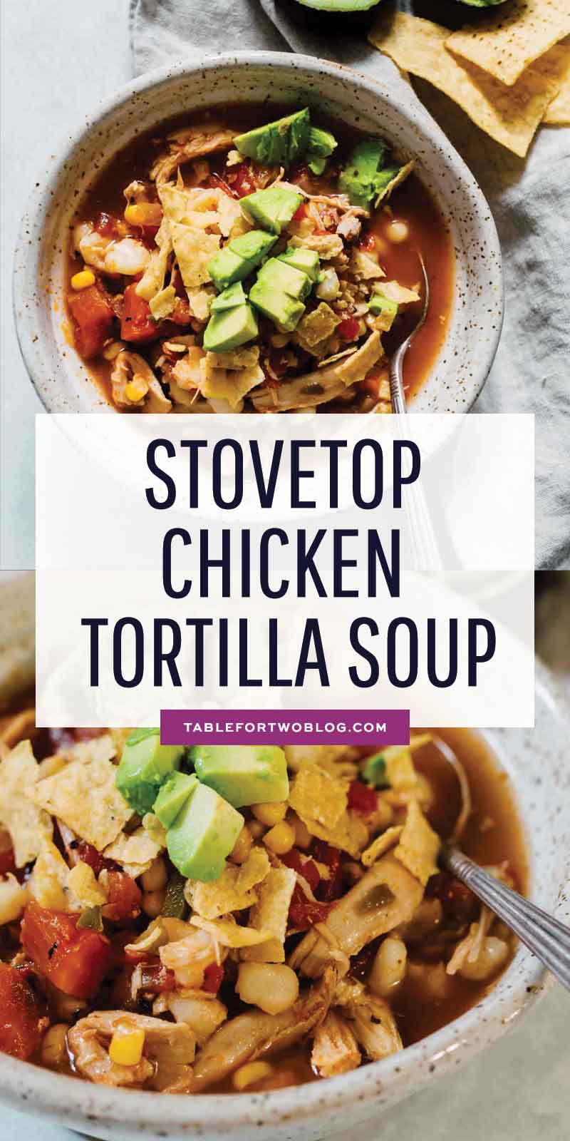 This chicken tortilla soup made on the stovetop is deliciously flavorful and spicy! You'll love how quickly it comes together and all the textures throughout the soup! The broth is SO good you'll be going back for more bowls! #soup #souprecipes #chicken #tortillasoup #chickenrecipes #soupfordinner #dinnerideas
