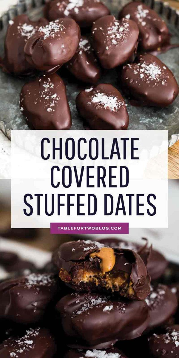 These chocolate covered stuffed dates are insanely easy to make and far too easy to eat just one. I dare you to resist having just one! #chocolatecovered #stuffeddates #easydessert #medjooldates