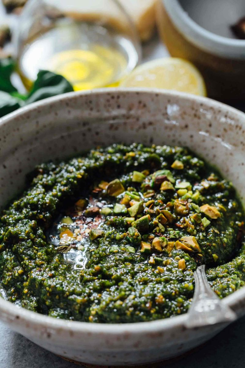If you need to elevate a rather boring dish, put some pistachio pesto on it and you will instantly elevate a dish! It's versatile enough to use on various meats, pastas, and more!