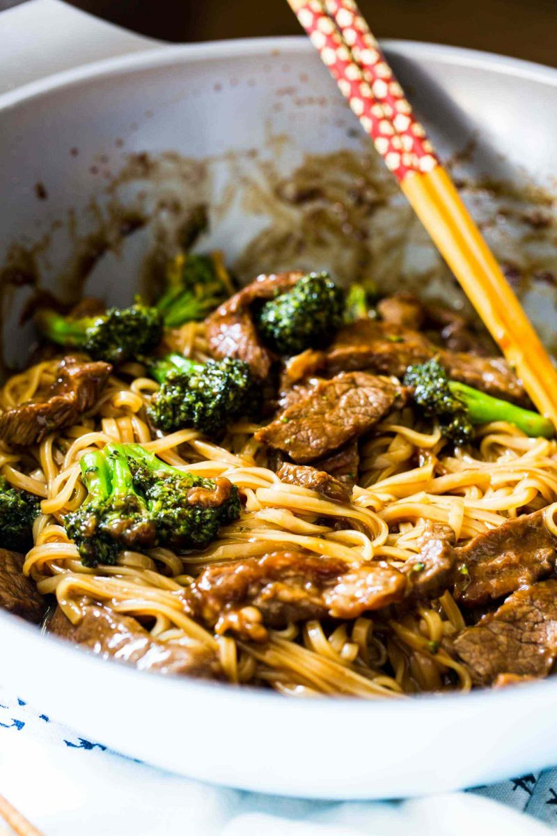 A take on the classic Chinese takeout dish but in a rice noodle dish! Super easy to make on a busy weeknight! This Asian beef and broccoli noodle dish is going to be your new favorite!