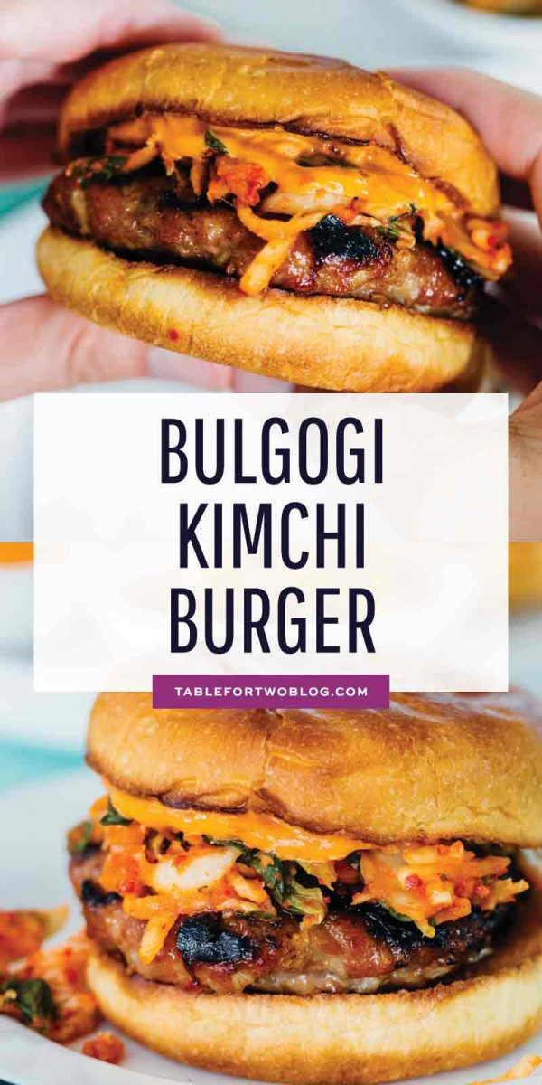 If you love the flavors of Korean bulgogi, then you'll absolutely love this bulgogi kimchi burger! It is so flavorful and one of our favorites! #bulgogi #burger #kimchi #koreanfood #burgerrecipe