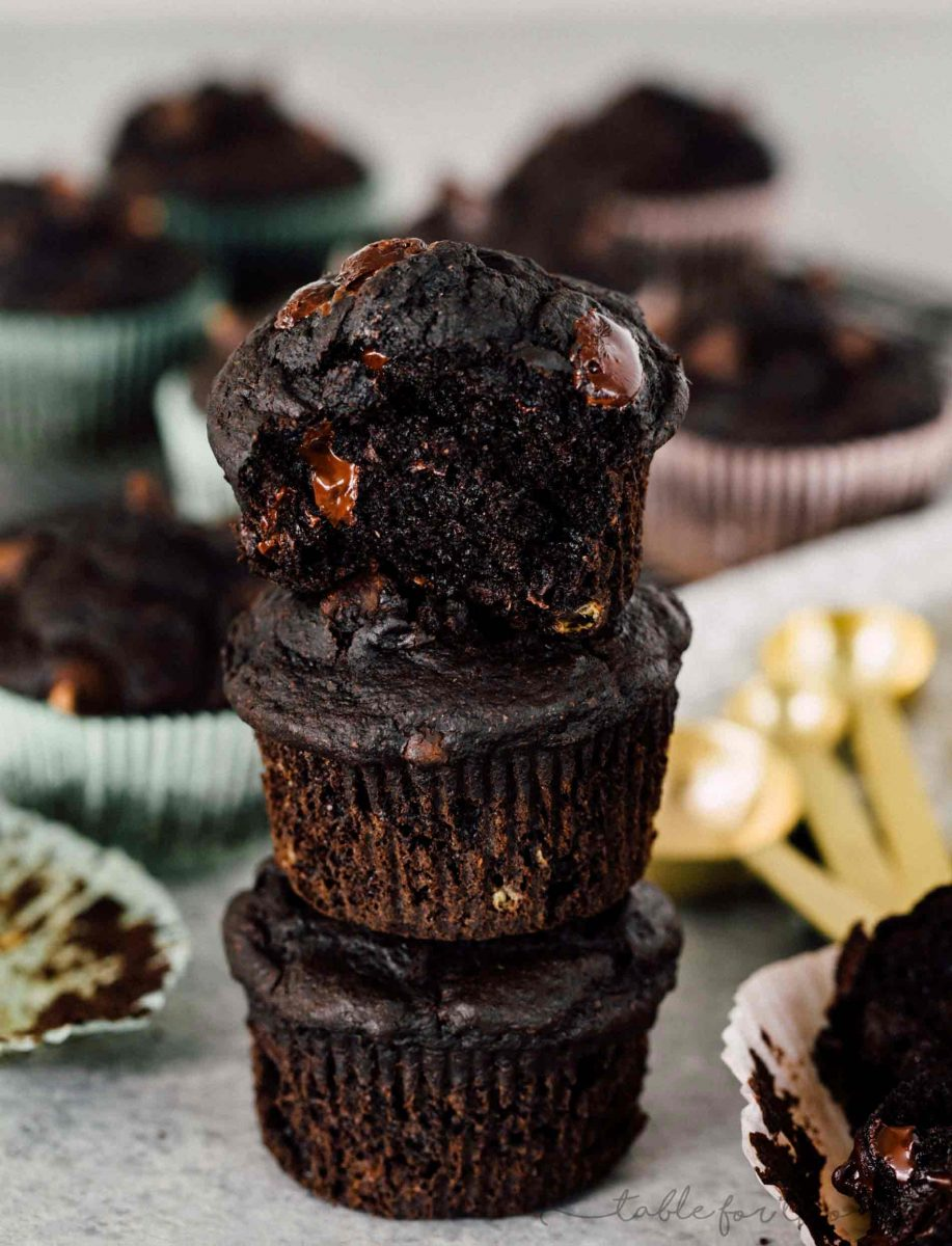 An incredibly moist and tender double dark chocolate banana muffin! They look like they came out of a bakery!