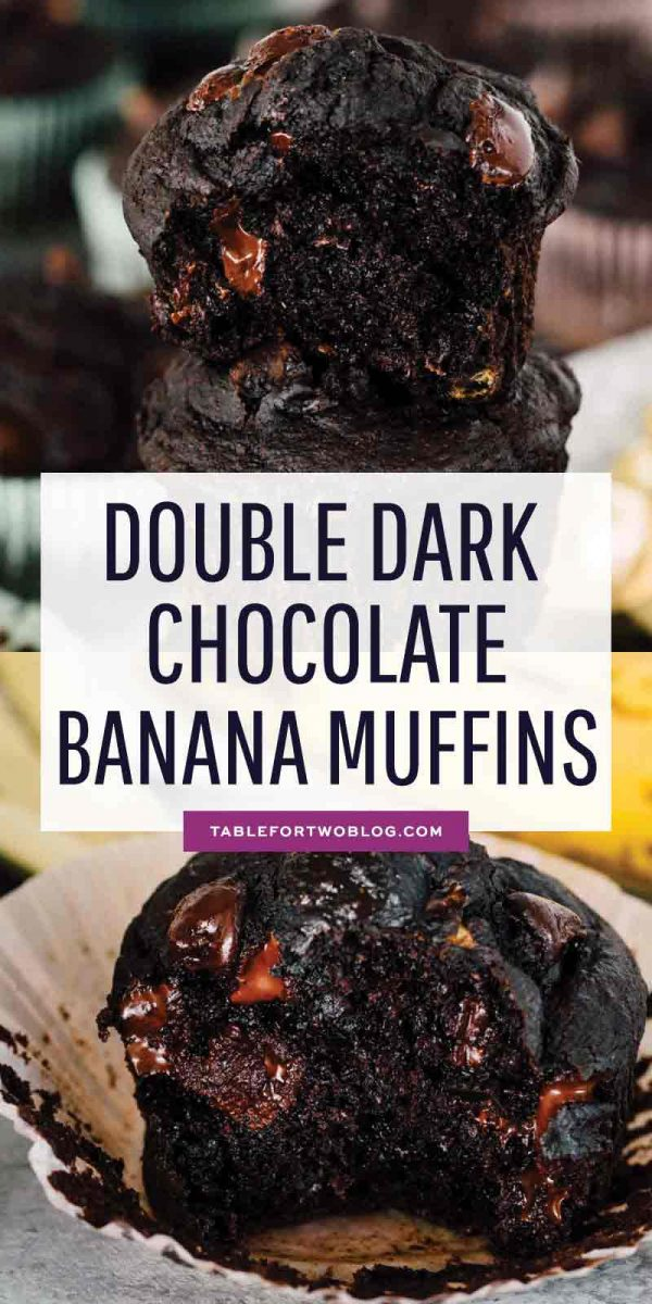 An incredibly moist and tender double dark chocolate banana muffin! They look like they came out of a bakery! #darkchocolate #banana #bananarecipes #bakingrecipes #muffin #muffinrecipe