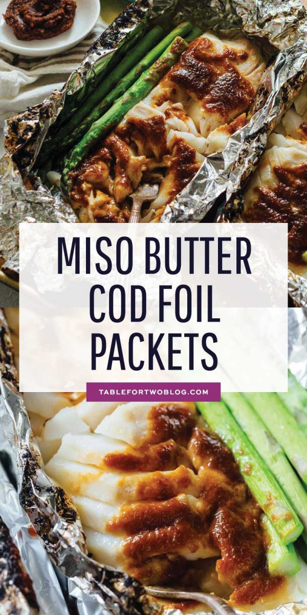 Who doesn't love foil packet dinners? This miso butter cod foil packet dinner is SO easy to make and has the most incredible umami-filled flavors! #foilpacket #miso #butter #cod #seafooddinner #easydinner #easycleanup