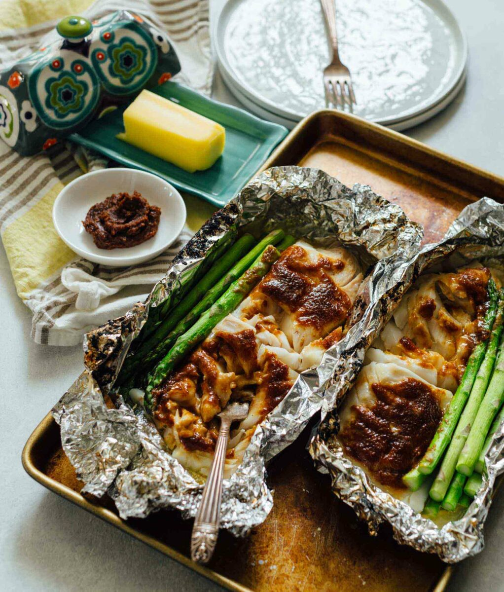 Miso Butter Cod Foil Packets Cod Recipe With Miso In Foil Packets