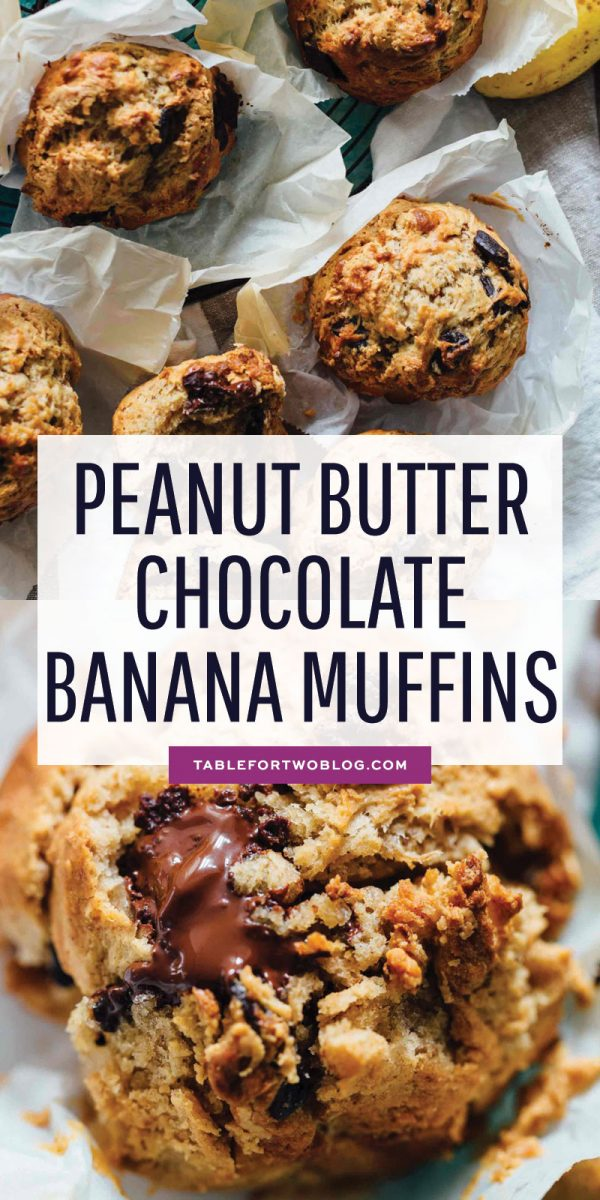 These peanut butter and chocolate banana muffins are so soft and tender with the biggest domed top! They're just like straight out of a bakery! #bananarecipe #ripebanana #peanutbutter #chocolate #muffin #muffinrecipe #bakerystyle
