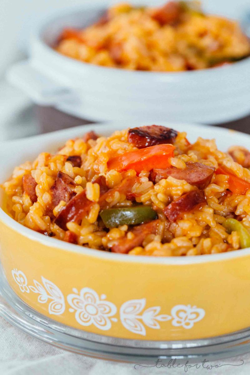 This smoked sausage and peppers with rice is easily one of our favorite weeknight meals! It all comes together in one-pot and it's so flavorful!