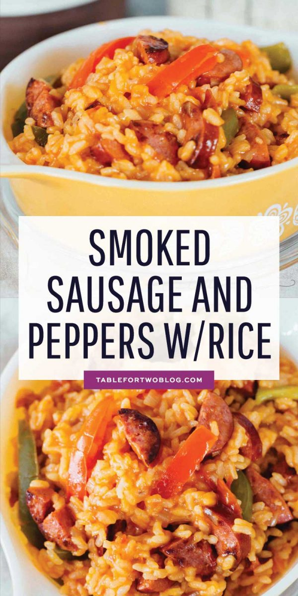 This smoked sausage and peppers with rice is easily one of our favorite weeknight meals! It all comes together in one-pot and it's so flavorful! #smokedsausage #sausage #rice #peppers #ricedinner #dinneridea #dinnerrecipe