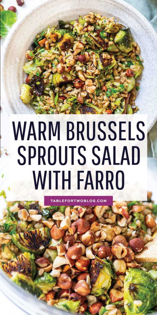 The perfect springtime salad! This warm roasted brussels sprouts salad with farro is tossed in a delicious Dijon shallot dressing that is flavorful and a delight! The hazelnuts give this salad that extra crunch and texture! #brusselssprouts #salad #farro #roastedvegetables