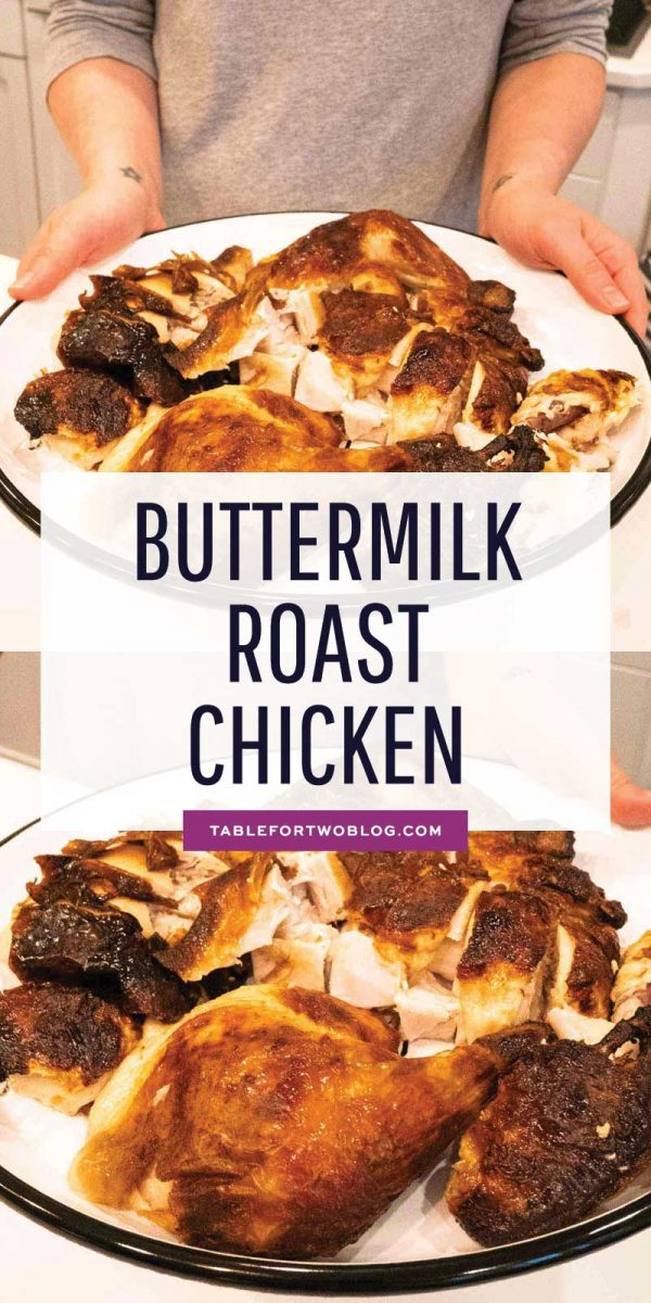 The most flavorful, tender, juicy and moist buttermilk fried chicken made with only three ingredients. This buttermilk marinated roast chicken is INCREDIBLE and so easy to make! #buttermilk #roastchicken #buttermilkmarinated #chickenrecipe #wholechicken
