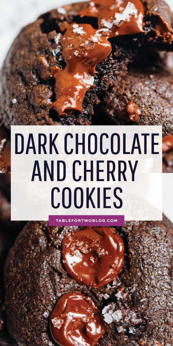 These soft dark chocolate and cherry cookies are a decadent treat! Tart, sweet, and salty are the prominent flavors of this crazy good cookie! #tartcherries #darkchocolate #cookies #chocolateandcherries #chocolatecookies