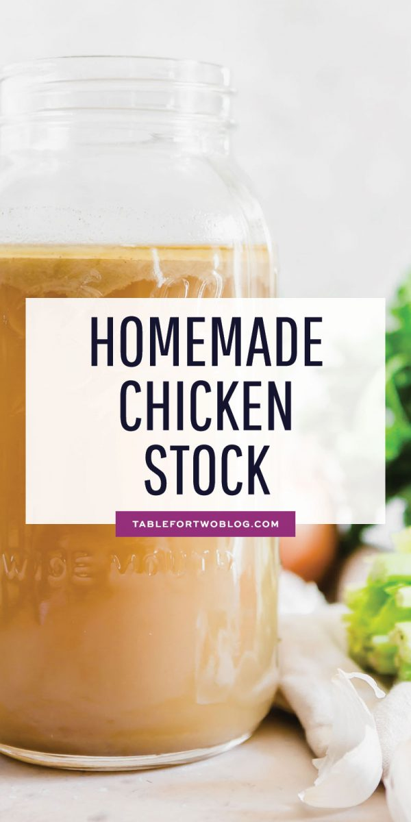 Homemade chicken stock is a game-changer. It's so incredibly flavorful and has rich depth of flavor. You'll be hard-pressed to want to pick up a box of stock off the store shelves after making your own at home! #homemade #madefromscratch #chickenstock