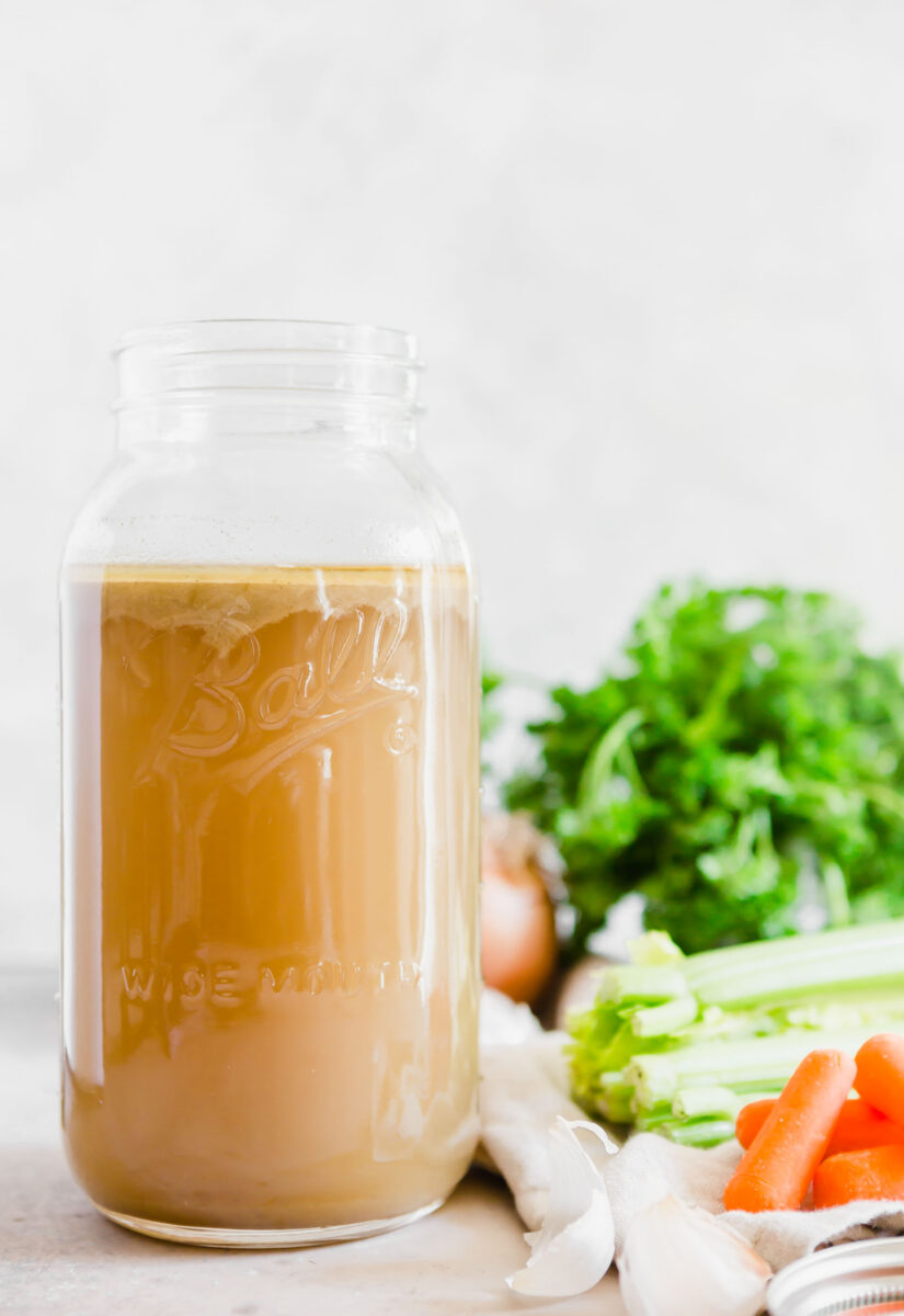 Homemade chicken stock is a game changer. It is so incredibly flavorful and has rich depth of flavor. You will be hard pressed to want to pick up a box of stock from the store shelves after making your own at home!