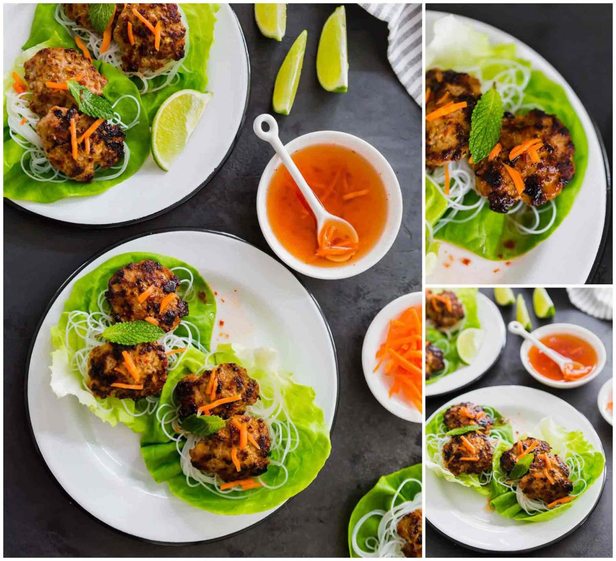 These lemongrass pork meatballs served in crisp lettuce cups will be a delicious addition to your dinner menu or even served as an appetizer! #lettucewraps #lemongrass #porkmeatballs #meatballs #vietnamesefood