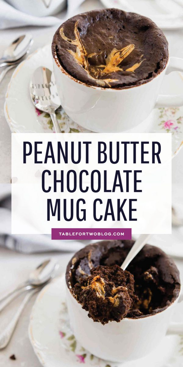 If you love peanut butter and chocolate and love the ease of mug cakes then this peanut butter chocolate mug cake is for you! #pb #peanutbutter #chocolate #peanutbutterchocolate #mugcake #mugcakerecipes