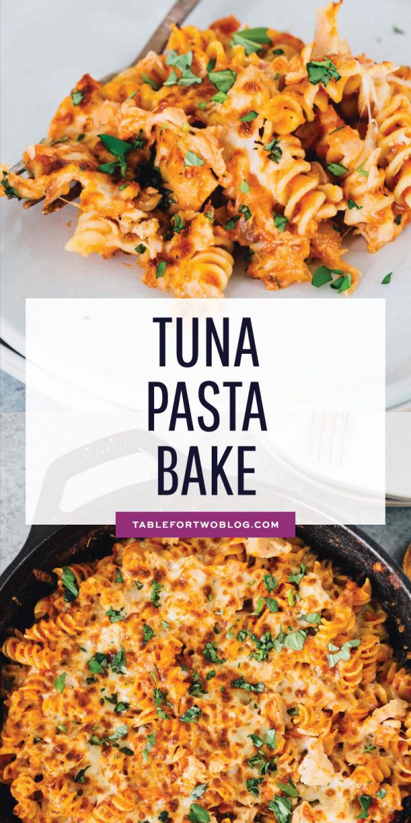 Incredibly easy tuna pasta bake that utilizes everything you already have in your pantry! Canned tuna is the star of this pasta bake! #tuna #pasta #pastabake #casserole #casserolebake #cannedtuna
