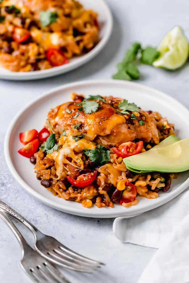 This one-pot BBQ chicken and rice is a weeknight meal saver! It is loaded with flavor and it's basically like having your favorite BBQ restaurant chicken and rice dish at home!
