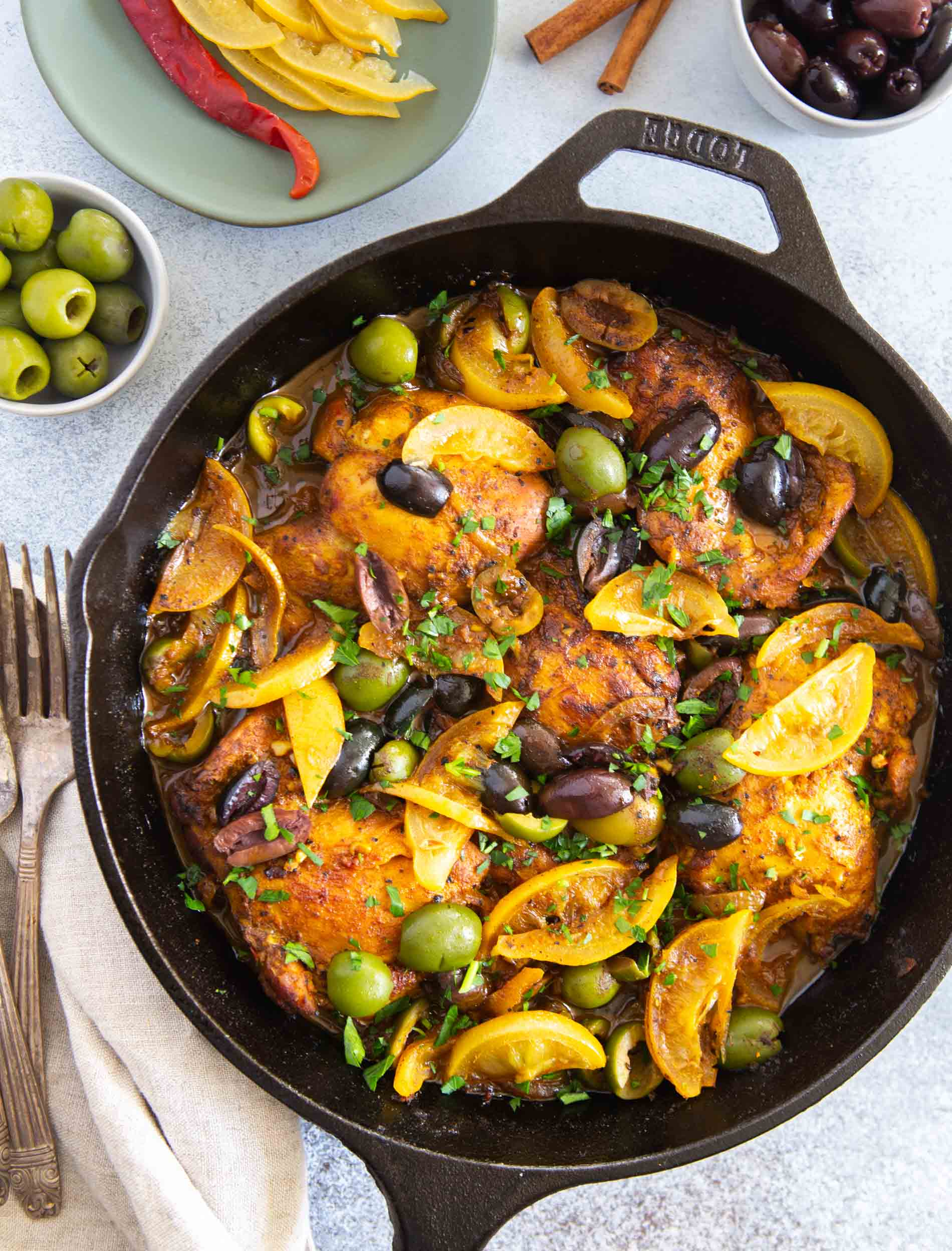 The incredible flavors of Moroccan cuisine embody this Moroccan chicken tagine skillet. Its complex and bold flavors will have you going back for seconds!