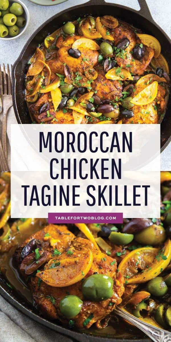 The incredible flavors of Moroccan cuisine embody this Moroccan chicken tagine skillet. Its complex and bold flavors will have you going back for seconds! #moroccan #chicken #tagine #chickenskillet #chickendinner #easymeals #easydinner