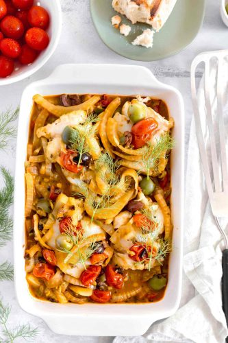 Poached cod with fennel, tomatoes, and olives is a flavorful dish that utilizes various flavor profiles to create a tantalizing broth for poached cod.