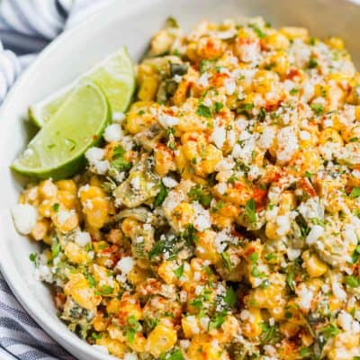 A different take on the original Mexican street corn off the cob. This poblano Mexican street corn off the cob is extra creamy, smoky, and flavorful! #mexicancorn #corn #cornrecipes #offthecob